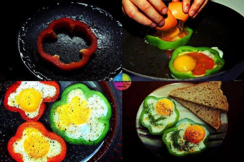 eggs-cooked-inside-red-green-bell-peppers